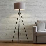 Stojací Lampa Emilian - šedá/černá, Moderní, kov/textil (45/153cm) - Modern Living