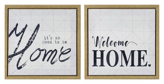 Bild Home, 35x35 cm - Schwarz/Naturfarben, MODERN, Holz (35/35/2,5cm)