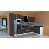 Küchenblock Premium B: 345 cm Grau Hgl - Weiß/Grau, MODERN, Holzwerkstoff (345/220,5/172cm) - MID.YOU