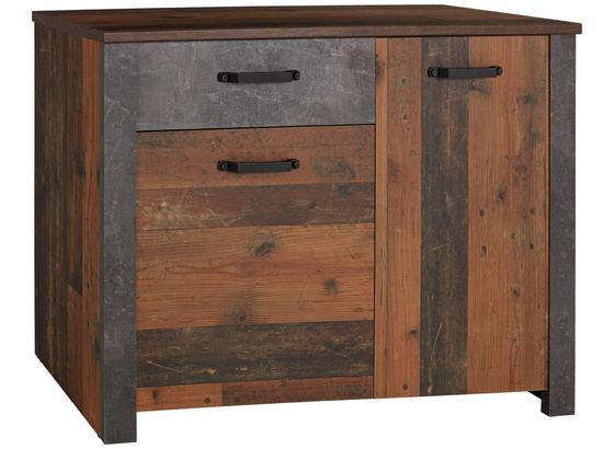 Kommode Ontario Ontk02 - Dunkelgrau/Eichefarben, MODERN, Holzwerkstoff (116,5/86/41,5cm) - Ombra