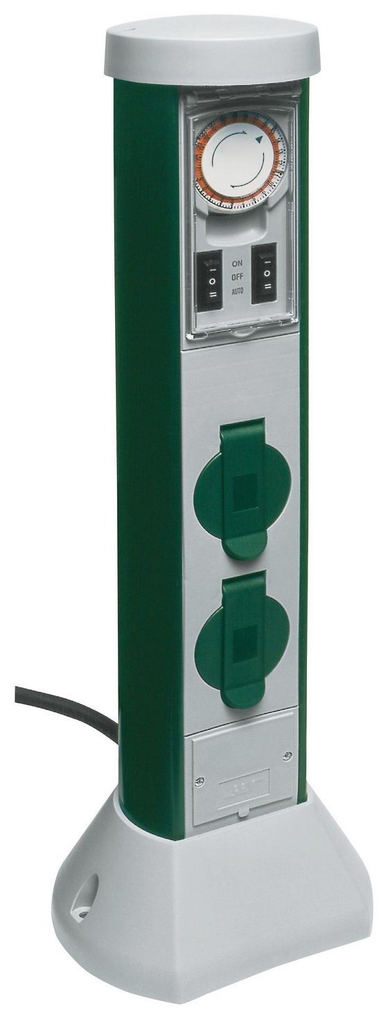 Steckdosenelement Gc 2-f 5m Zuleitung inkl. Uhr - Grau/Grün, KONVENTIONELL, Kunststoff (18,1/51,9/15,9cm)