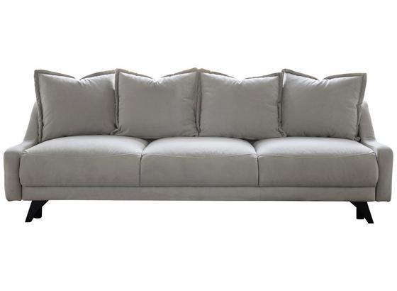 Dreisitzer-Sofa mit Bettfunkt. Royal Rose, Veloursbezug - Beige/Schwarz, Basics, Holz/Holzwerkstoff (223/92/93cm) - MID.YOU