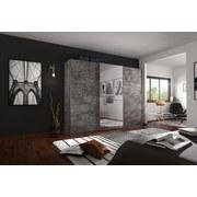 Schwebetürenschrank Belluno 271 cm Stone/spiegel - Grau, MODERN, Holzwerkstoff (271/230/62cm)