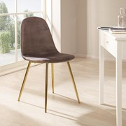 Stuhl Artdeco Samtbezug Grau Gepolstert - Goldfarben/Grau, MODERN, Textil/Metall (45/85/54cm) - Luca Bessoni