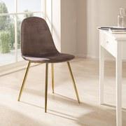 Stuhl Artdeco Samtbezug Grau Gepolstert - Goldfarben/Grau, MODERN, Textil/Metall (45/85/54cm) - MID.YOU
