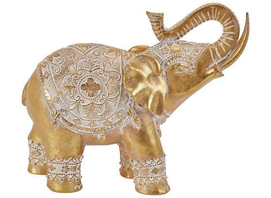 Dekoelefant Arnav - Goldfarben/Weiß, Basics, Kunststoff (30,5/12/25cm) - Ombra