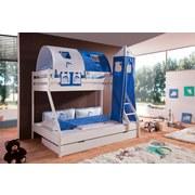 Betttasche Blau/Weiß - Blau/Weiß, Design, Textil (50/28/2cm)