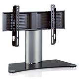 TV-Rack Windoxa Mini B: 70 cm - Silberfarben/Schwarz, KONVENTIONELL, Glas/Metall (70/52/30cm) - Livetastic
