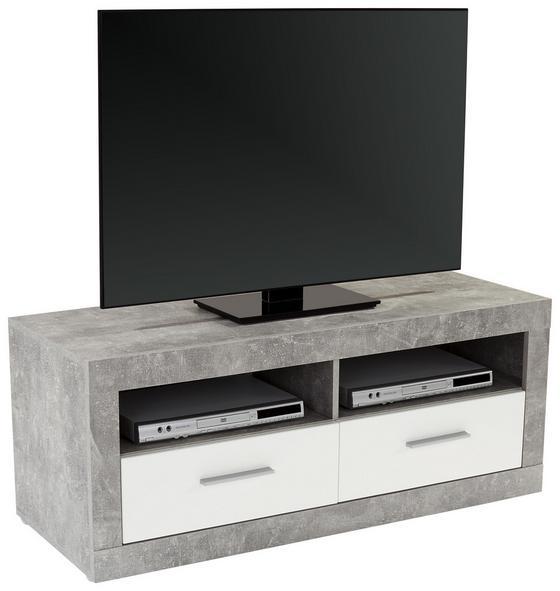 Tv Diel Malta - sivá/biela, Moderný, kompozitné drevo (128/50/42cm)