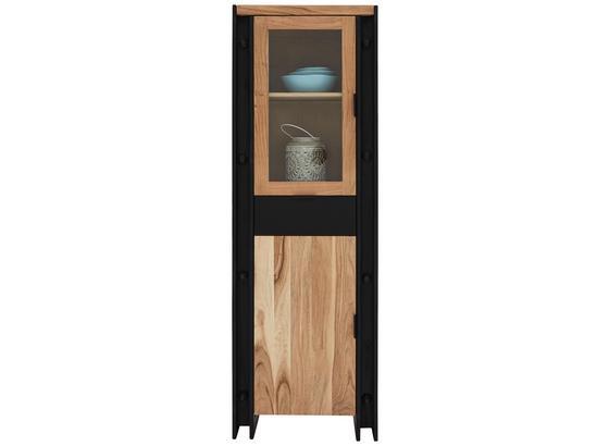 Vitrína Construction - černá/přírodní barvy, Lifestyle, dřevo/kompozitní dřevo (60/180/40cm) - Zandiara