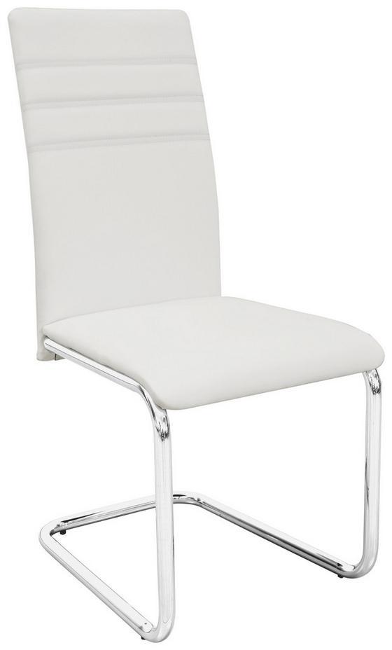 Étkezőgarnitúra Bregenz - krómszínű/fehér, modern, műanyag/üveg (120/75/80cm)