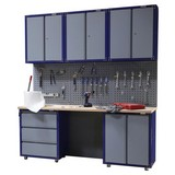 Werkbankset Large 200,5 cm Grau/blau - Blau/Buchefarben, KONVENTIONELL, Holz/Metall (200,5/232/60cm) - Erba