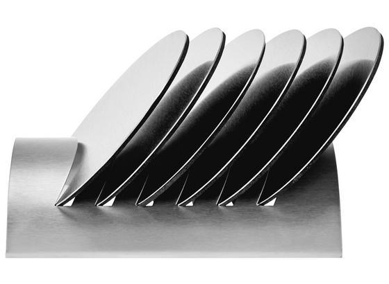 Glasuntersetzerset Table Line 7tlg., 6 Untersetzer + Halter - Edelstahlfarben, KONVENTIONELL, Metall (10,5/15/6cm)