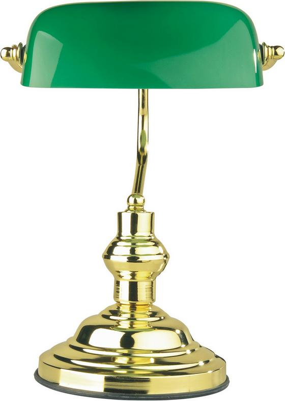 Asztali Lámpa Bankár - zöld, konvencionális, üveg/fém (25/36cm) - LANDSCAPE