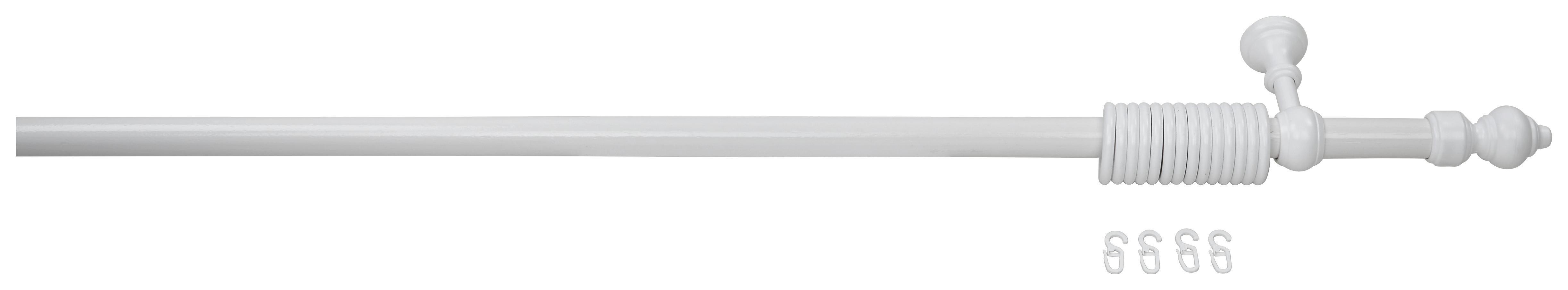 Rundstangengarnitur Weiß, 1-lfg. - Weiß, KONVENTIONELL, Holz/Kunststoff (180cm) - HOMEWARE