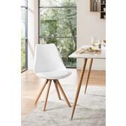 Stuhl Levi Lederlook Weiß, Beine Echtholz - Eichefarben/Weiß, MODERN, Holz/Kunststoff (48/81/57cm) - Ombra