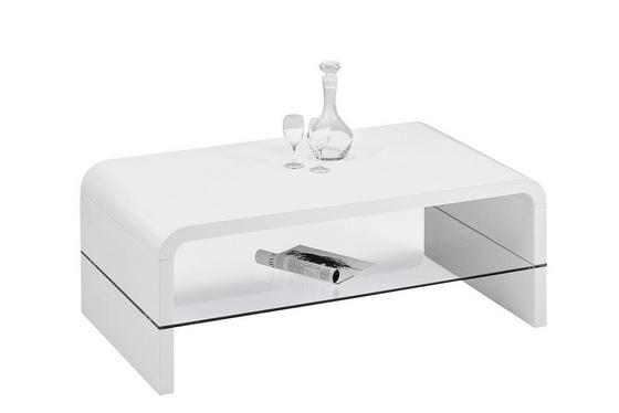 Dohányzóasztal Aruba - Fehér, modern, Faalapú anyag/Üveg (110/40/60cm)
