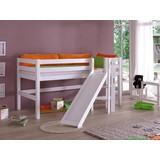Spielbett Eliyas 90x200 cm Buche Massiv - Weiß/Naturfarben, Design, Holz/Textil (90/200cm)