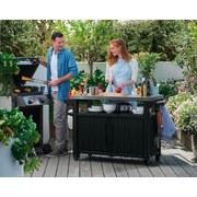Gartenbeistelltisch Prep N'serve 128cm - Graphitfarben, MODERN, Kunststoff/Metall (128/90/52cm)