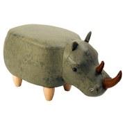 Kinderhocker Nashorn B: 65cm Olivgrün - Naturfarben/Olivgrün, KONVENTIONELL, Textil (65/35/35cm) - MID.YOU