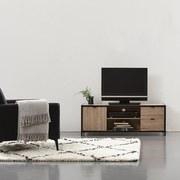 TV-Element Torre - Schwarz/Sonoma Eiche, LIFESTYLE, Holzwerkstoff/Metall (124/45/39cm) - Livetastic