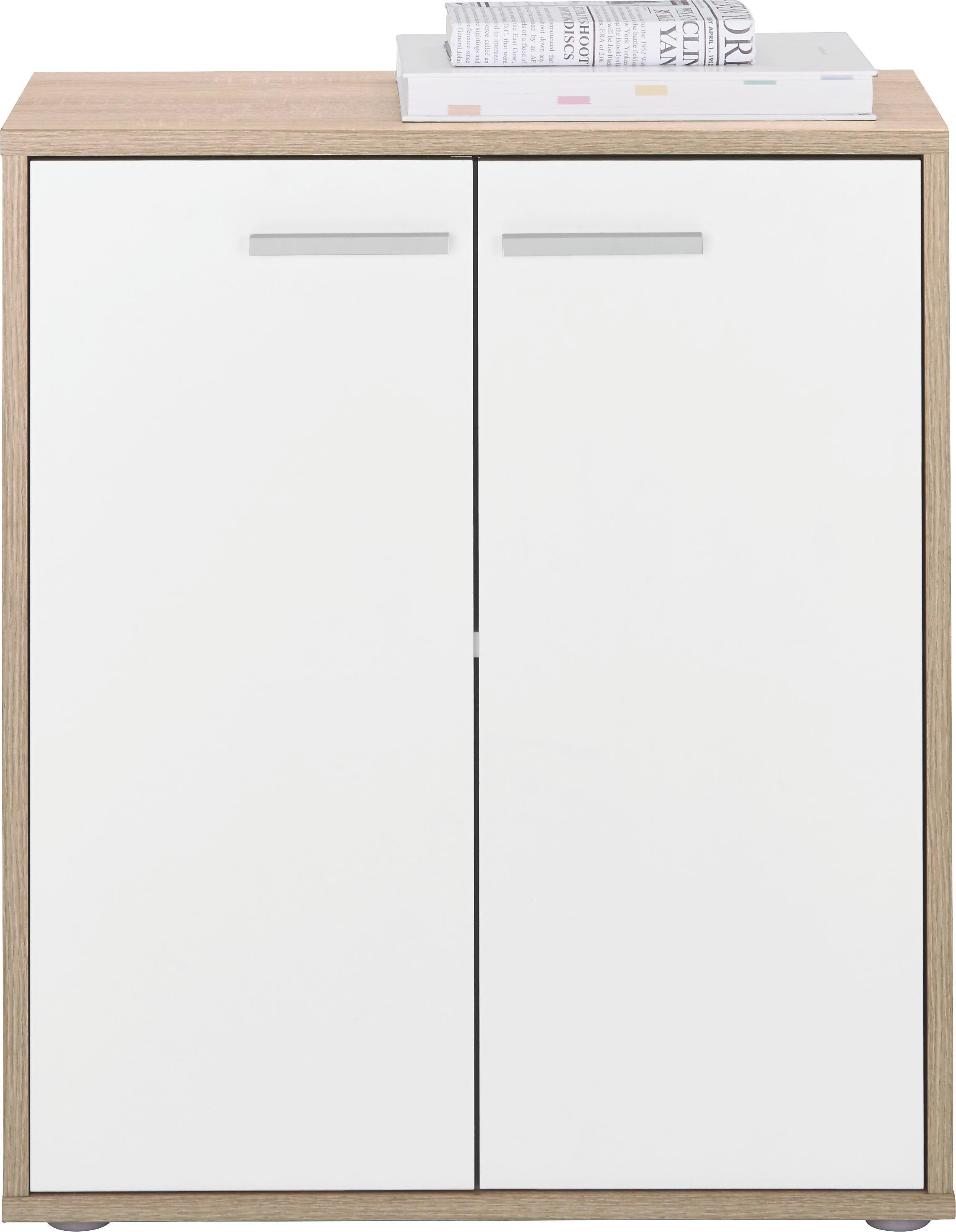 Komoda Andrea - bílá/Sonoma dub, dřevěný materiál (60/70/30cm)