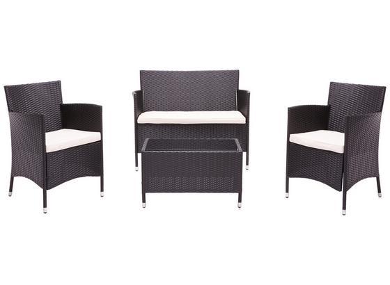 Loungegarnitur Valencia 4-Teilig inkl. Sitzkissen - Dunkelbraun/Creme, MODERN, Glas/Kunststoff - Ombra