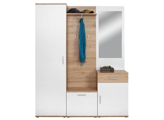 Garderobe Mia B:150cm Weiß Matt/San Remo Eiche Dekor - Eichefarben/Weiß, MODERN, Glas/Holzwerkstoff (150/190/29cm)