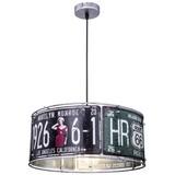 Hängeleuchte USA H: 120 cm Im Us-Nummernschilddesign - Silberfarben, Basics, Metall (40/120cm)