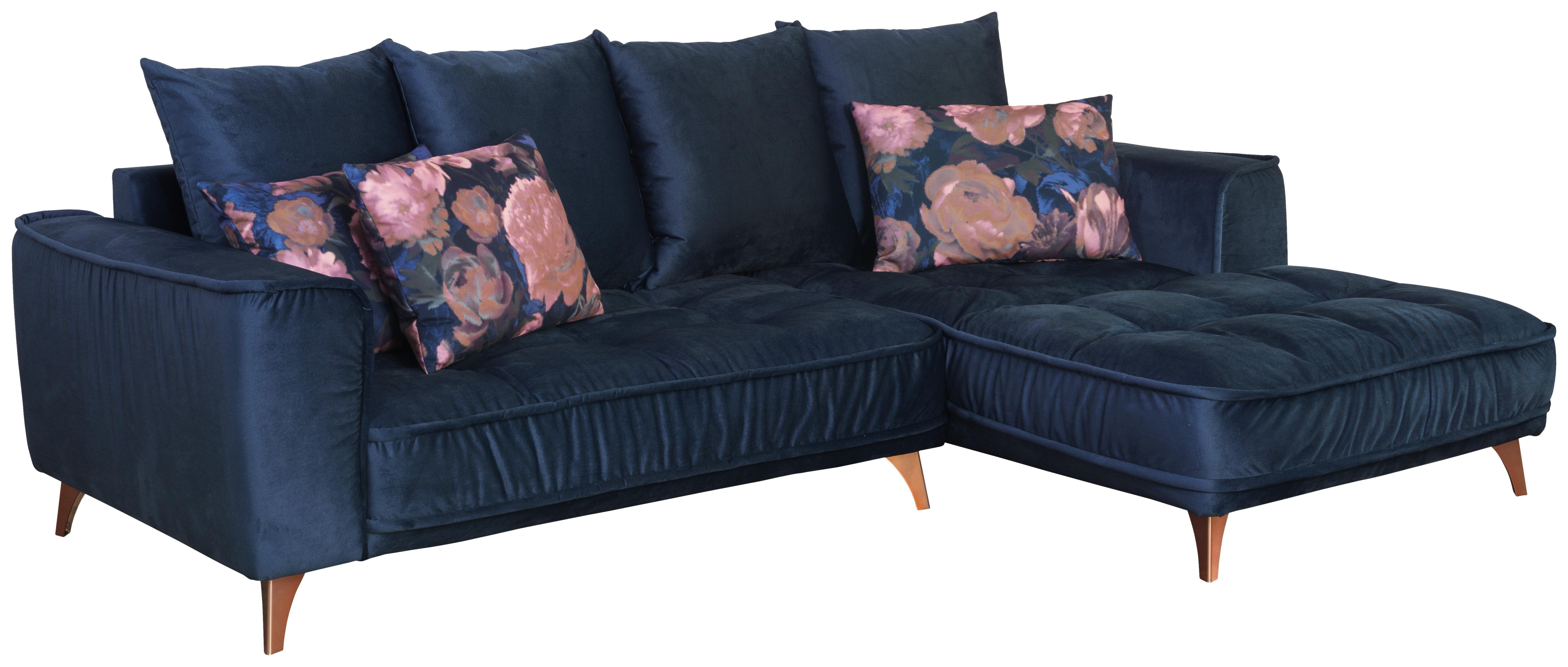 Wohnlandschaft in L-Form Belavio 256x175 cm - Dunkelblau/Kupferfarben, MODERN, Textil (256/175cm) - Luca Bessoni