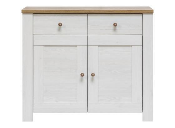 Komoda Noto - bílá, Romantický / Rustikální, dřevo (102/88/40cm)