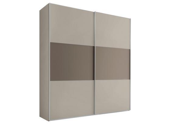 Schwebetürenschrank 188 cm Includo - Taupe/Sandfarben, MODERN, Glas/Holzwerkstoff (188/222/68cm) - Bessagi Home