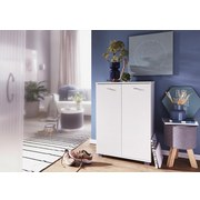 Schuhschrank Taja B: ca. 60 cm Weiß - Weiß/Grau, KONVENTIONELL, Holzwerkstoff (60/118/25cm) - Livetastic