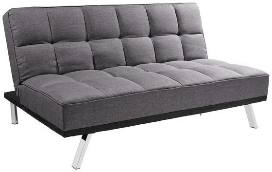 Schlafsofa Roma B: 179cm - Edelstahlfarben/Anthrazit, Basics, Textil/Metall (179/84/96cm) - Ombra