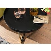 Couchtisch Rund + Abnehmbarer Tischplatte Eva, Schwarz/Gold - Goldfarben/Schwarz, Design, Holz/Holzwerkstoff (58,5/58,5/42cm) - Livetastic