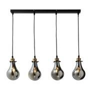 Závesné Svietidlo Luciana 4 - šedá/barva mosaz, Moderní, sklo (80/13.5/129cm) - Modern Living