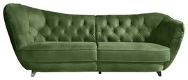Sofa Retro Neu - Chromfarben/Olivgrün, Trend, Textil (256/98/115cm)