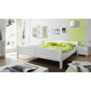 Bett Rita 140x200cm Weiß - Weiß, Natur, Holz (140/200cm) - Livetastic