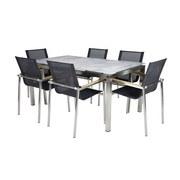 Dining-Loungeset Sydney - Silberfarben/Grau, Basics, Glas/Holz (160/85/90cm)