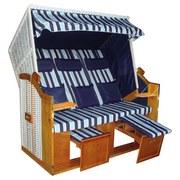 Strandkorb Ostsee Valentina Halblieger 3-Sitzer, Blau - Dunkelblau/Weiß, KONVENTIONELL, Holz/Kunststoff (160/165/79cm) - Luca Bessoni