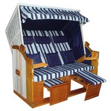 Strandkorb Ostsee Valentina Halblieger 3-Sitzer, Blau - Weiß/Dunkelblau, KONVENTIONELL, Holz/Kunststoff (160/165/79cm) - Luca Bessoni