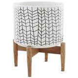 Übertopf Industrial Living - Weiß, Design, Holz/Keramik (20/20/24cm)