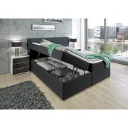 Boxspringbett Mercura 90x200 Graphit - Graphitfarben, MODERN, Leder/Holzwerkstoff (195/115/220cm)