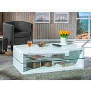 Couchtisch mit Ablagefach Aua Glas Xono, Weiß - Weiß, Basics, Glas/Holzwerkstoff (120/40/60cm) - Livetastic
