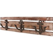 Hakenleiste Sailor 3 - Braun, MODERN, Holz/Metall