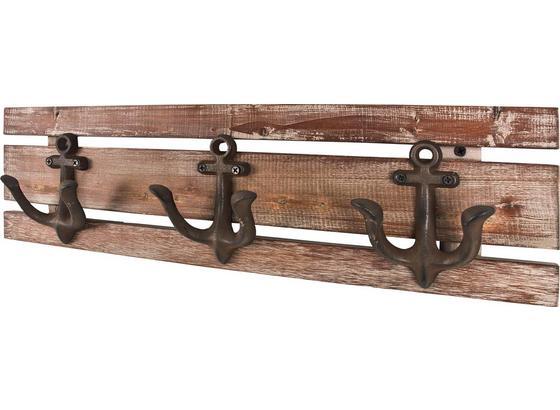 Lišta S Háčky Sailor 3 - hnědá, Moderní, kov/dřevo