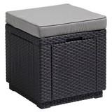 Gartenhocker Cube Polyrattan, mit Kissen - Graphitfarben, MODERN, Kunststoff (42/39/42cm) - Allibert
