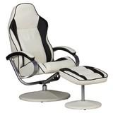 Relaxsesselset Sporting B: 69cm Braun/Creme - Silberfarben/Creme, MODERN, Textil/Metall (69/98/60cm) - Carryhome