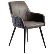 Armlehnstuhl Lola-1 - Schwarz/Braun, Design, Textil/Metall (55/83,5/63cm) - MID.YOU