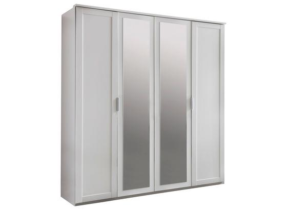 Drehtürenschrank mit Spiegel 180cm Nadja, Weiß Dekor - Weiß, KONVENTIONELL, Glas/Holzwerkstoff (180/210/58cm) - Cantus